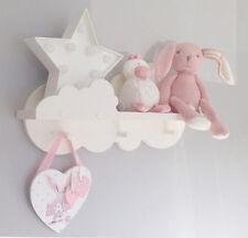 Nursery cloud shelf cloud peg shelf 50cms wide 3 shaker pine pegs hand painted