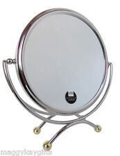 Chrome & Gold - 2 Sided Table Mirror 10 x Magnification & True Image - Danielle