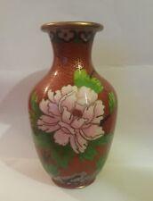 Vintage Chinese Cloisonne Cooper Enameled Vase with Peonies