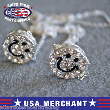 Rhinestone Encrusted Double Chain Smiley Face Pendant Necklace