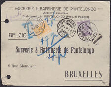 Belgium 1911 Due stamp Cob#TX11 on Taxed mail from PIOVE DI SACCO Italy....A4072