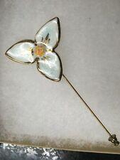 Flower Lapel Pin Gold Light Blue