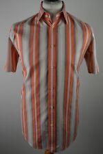 Premium men's Ted Baker orange & beige striped short sleeved shirt medium Ted 3