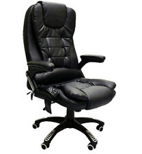 Black Leather Office Massage Swivel Chair Release Tension Back Bottom Thighs
