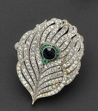 Beautiful Art Deco Style Blue Sapphire, Green Emerald & White CZ Feather Brooch