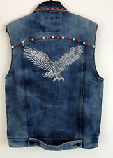 Ring Of Fire Denim Biker Vest Mens M Moto Style Jean With Eagle Beading