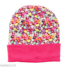 Claire's Valentine's Day Candy Hearts Knit Beanie Hat Girl's One Size New