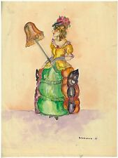 Original Art Work Ruth M Sherwood Watercolor of  Lady with Parasol