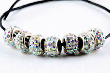 20PCS Silver CZ Crystal Beads Fit European Charm Bracelet DIY Jewelry Making