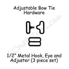 """5 Sets Bow Tie Hardware* Clips - 1/2"""" Black Metal Slide Adjuster, Hook and Eye"""
