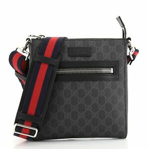 Gucci Web Strap Front Zip Messenger Bag GG Coated Canvas Small