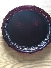 """Avon 1876 Cape Cod Collection Ruby Red CrGlass 10.75"""" Dinner Plate. Qt 2"""