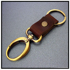 KEY CHAIN & LEATHER OVAL Hooks Snap  Key ring (Metal Brass Tone) <94>