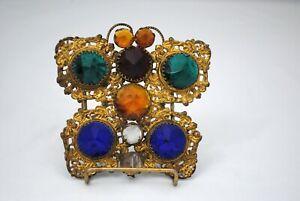 Victorian Brass Ormolu Jeweled Butterfly Fairy Lamp Filigree Shade Ornament