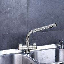 Modern Mono Kitchen Sink Mixer Tap Swivel Spout Chrome Twin Handle Control