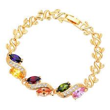 Fashion 18K Gold Plated Multicolor CZ Cubic Zirconia Bracelet Jewelry for Women