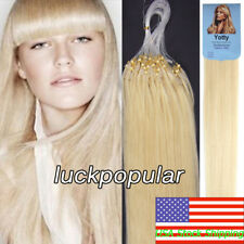 Micro Ring Loop Beads Tip Remy Human Hair Extensions Platinum Blonde 20Inch100S
