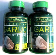 Lot 2 Odorless Garlic Bulb High Potency 1200Mg (400) Softgels Pills Heart Health
