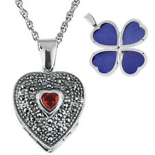 MARCASITE AND GARNET FOUR PART HEART LOCKET ON CHAIN 925 SILVER FROM ARI NORMAN