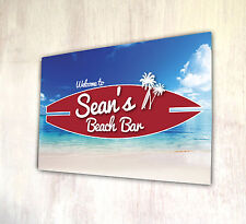 Personalised With Any Name Beach Bar Surf Board Beach Scene A4 Metal Sign