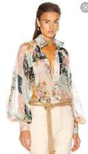 Zimmermann Wavelength Smock Blouse, Patchwork Floral Silk, Sz 0, RRP $550, Tags