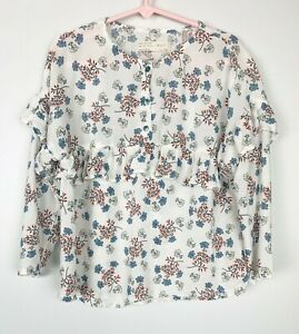 Zara Girls Soft Collection Blouse Top Long Sleeve Floral Ruffle Red Blue Size 7