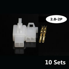 2.8mm 2 Pin 10 Sets Motorcycle Electrical Wire Connector Crimp Terminal