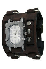 White Rugged Watch with Faded Brown Wide Detail Leather Band, BFWB007W