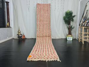 Moroccan Boujaad Handmade Runner Rug 2'5x11'4 Zigzag Pink Green Wool Berber Rug