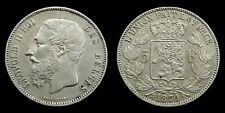 Belgium - 5 Francs 1871 Leopold II ~ silver