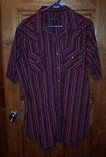 Men's XL HIGH NOON Rockabilly Western Shirt SS Pearl Snaps Maroon Stripe GUC