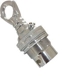 Bayonet Cap B22 Earthed Pendant Bulb Holder in Silver Nickel + Metal Loop