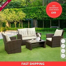 More details for rattan garden furniture 4 piece patio set table chairs, weawe sofa,grey, brown