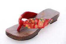 K-G-11 red Fan Geta Japanese Wood Sandal Tabi Socks Kimono Geisha 9 5/8in/