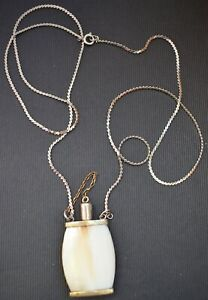 Antique Bone and Silver Snuff Bottle With Metal Spoon and Chain