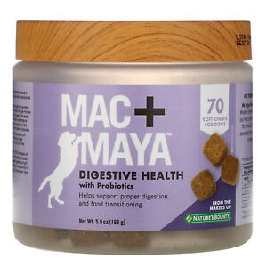 Mac + Maya Digestive Health w/ Probiotics 70 Soft Chews for Dogs Best By 11/2020