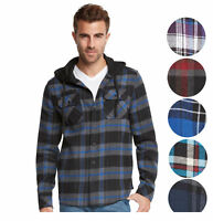 9 Crowns Men's Lightweight Hoodie Plaid Flannel Shirt