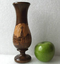 Carved wooden vase CROATIAN Porec souvenir Yugoslavia European 18 cm