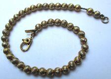 Fin joli bracelet bijou rétro perle gravé boule couleur or signé MONET 120