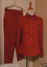 NWT Anna Sui RED DENIM Jacket Pant Suit Size Large Size 8 (US) (Italy 42)