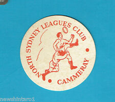 #D202. NORTH SYDNEY BEARS RUGBY LEAGUE BEER COASTER, CAMMERAY