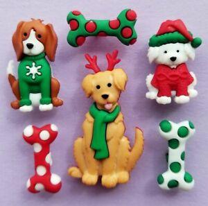 FELIZ NAVIDOG Craft Buttons Christmas Dog Puppy Pup Bone Pet Novelty Dress It Up