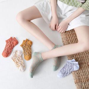 Summer Colored Vintage Relief Flower Socks Boat Socks Women Hosiery Cotton