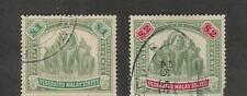 Malaya, Postage Stamp, #34-35 Used, 1906-07 Elephant
