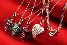 925 STERLING SILVER~NECKLACE CHAIN~WITH~HEART~RHINESTONE PENDANT, 16 x 14 x 6 MM