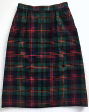Vtg 100% Wool Tartan Plaid Red Green Blue Yellow  Lined Skirt Size 26 Waist EUC