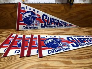 "1986 NEW YORK GIANTS SUPER BOWL CHAMPIONS PENNANT FULL SIZE 30"""