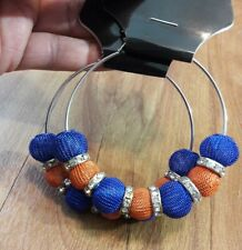 Women's Fashion Big Circle Hoop Dangle Drop Beaded Earrings Silver Blue Orange