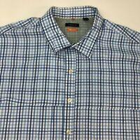 Van Heusen Button Up Dress Shirt Men's 19-19.5 Short Sleeve Blue White Plaid