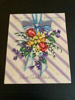 Vintage 1940's Grandmother Easter Greeting Card Cross and Flowers
